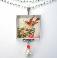 BIRD w LOVE LETTER CHERRY TREE VINTAGE CHARM SILVER OR BRONZE PENDANT NECKLACE