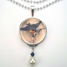 BLUEBIRD BLUE BIRD LILY OF THE VALLEY VTG CHARM SILVER / BRONZE PENDANT NECKLACE