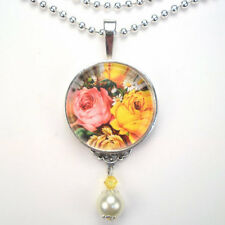 "PINK & YELLOW ROSES ""VINTAGE CHARM"" SILVER OR BRONZE ART GLASS PENDANT NECKLACE"
