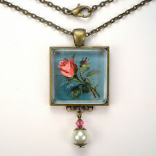 "PINK ROSE FLOWER ""VINTAGE CHARM"" ART GLASS BRONZE OR SILVER PENDANT NECKLACE"