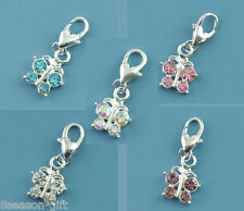 Wholesale Lots HX Mixed Butterfly Clip On Charm Fit Chain Bracelet