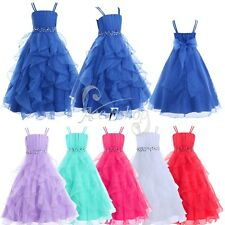 Flower Girls Pageant Wedding Bridesmaid Tulle Ruffles Party Prom Ball Gown Dress
