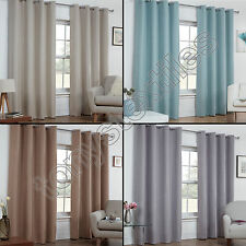 TEXTURED WOVEN PLAIN THERMAL BLACKOUT LINEN LOOK EYELET GROMMET WINDOW CURTAINS