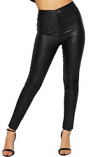 Womens Wet Leather Look Skinny Leg High Waist Jeans Ladies Trousers Pants Pocket