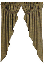 Tea Cabin Prairie Swags in Earthy Olive Green and Creme Plaid, Choice of 2 Sizes