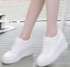 New Chic Lace Up Womens Hidden Wedge Athletic High Top Sneakers Preppy Shoes y@