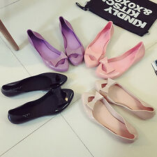 New Bowknot Women Pointed Toe Beach Jelly Sandal Beach Flat Casual Shoes Summer