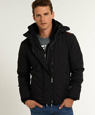 New Mens Superdry Quilted Hooded Polar Windcheater Black/Dark Grey Marl