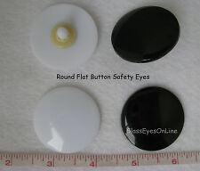 6 Pair 35mm or 40mm Black Safety Eyes Buttons Flat No Pupil  Sew Crochet   RBE-1