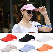 Mens Womens Adjustable Cotton Sun Visor Cap Tennis Sports Headband Snapback Hat