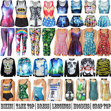 Womens 3D Digital Graphic Print One-Piece Bikini Dress Tank Tops Skirt Leggings