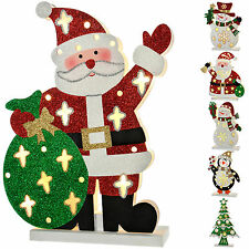 Pre-Lit Snowman Santa Penguin Sack Tree Christmas Decoration Multi-Colour