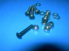 Packs of 10 M3 M4,M5, M6 M8 BUTTON Head BOLTS Black + NYLOC Nuts & FLAT Washers