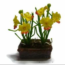 Yellow Orchid Flower Plant in Pot Dollhouse Miniatures Deco Garden