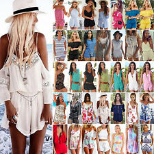 Various Women Holiday Mini PLAYSUIT Celeb Jumpsuit Casual Summer Beach Sun Dress