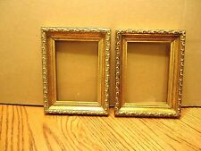 "2 Vintage Gold Tone Ornate Wood Picture Frames 9"" Tall x 7"" Wide"