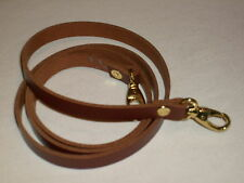"""1/2"""" TAN / MEDIUM BROWN LEATHER SHOULDER BAG REPLACEMENT STRAP GOLD FITTINGS"""