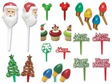 Christmas Holiday Assortment Cupcake Picks Cake Toppers Appetizer Decorations