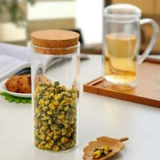 Clear Glass Canister Snack Sugar Treat Tea Storage Jar Bottle With Cork 3 Size