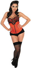 RED BURLESQUE DANCER BASQUE LADIES FANCY DRESS