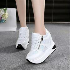New Womens Lady Comfort Breathable Lace up Sneakers Hidden Wedge Heel Shoes Hot