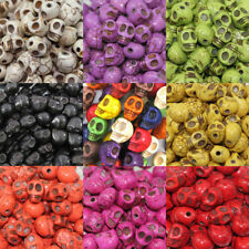 100Pcs 9mm Wholesale Turquoise Stone Carved Skull Loose Spacer Beads 11 Colors