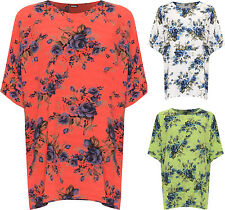 Plus Womens Oversized Baggy Top Ladies Short Sleeve Round Neck Floral Print New