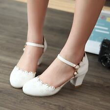 Womens Sweet Round Toe Cuban Heel Ankle Strap Casual Mary Janes Pumps Shoes AU