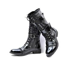 Mens Punk Patent Leather Lace Up Buckle Mid Calf Combat Motorcycle Boots Shoes
