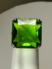30ct Huge *Green Peridot* Solid Sterling Silver Filigree Ring (MTO/New) Size Any