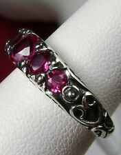 *Red Ruby* Sterling Silver Edwardian/Georgian Filigree Ring Size [Made To Order]