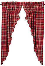 Braxton Plaid Prairie Swags in Apple Red, Natural and Ebony, Choice of Two Sizes