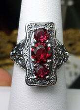 *Ruby* Gem Solid Sterling Silver Edwardian Filigree Ring Size: {Made To Order}