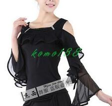 Womens stage costume Latin Ballroom Modern Tango Salsa Dance Top Blouse Shirts