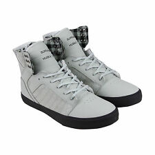 Supra Skytop Mens White Canvas High Top Lace Up Sneakers Shoes