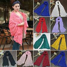 Women Girl Plain Long Neck Scarf Silk Scarves Wrap Large Soft Voile Stole Shawl
