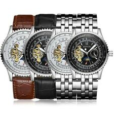 SEWOR Mechanical Wrist Watch Stainless Steel Skeleton Auto Luxury Mens Gift New