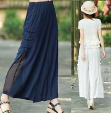 Chinese Womens Casual Trousers loose Wide-Leg Pants Cotton Linen cropped New Hot
