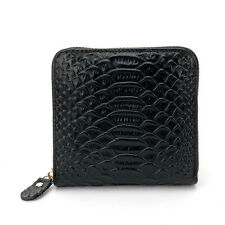 Women Small Short Wallet Genuine Leather Crocodile Pattern Cowhide Leather Purse