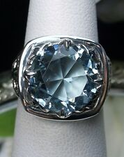 6ct*Blue Aquamarine* Solid Sterling Silver Lotus Leaf Filigree Ring Size Any/MTO