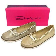 LADIES DOLCIS GOLD OR BRONZE SLIP-ON LOAFER MOCCASIN SMART FLAT CASUAL SHOES