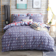 Checked Quilt Duvet Doona Cover Set Fitted Sheet Queen/King Size Bed Pillowcases