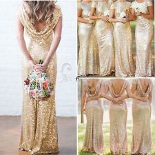 Wedding Bridal Mermaid Gold Sequin Bridesmaid Stretchy Backless Party Gown Dress