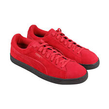 Puma Suede Black Sole Mens Red Suede Lace Up Lace Up Sneakers Shoes