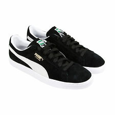 Puma Suede Classic + Mens Black Suede Lace Up Sneakers Shoes