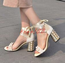 Womens Elegant high chunky Heels pearl Open Toe Ankle Lace Up Sandals Shoes pump