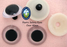 4 PAIR 45mm CLEAR Safety Eyes for Teddy Bears, Puppets, Monsters, Dolls, PE-1