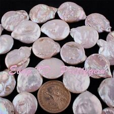 20-22mm Natural Coin Shape Freshwater Pearl Beads Gemstone Spacer Strand 15""