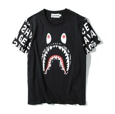 NEW Men's Japan Classical Bape Shark Jaw Letter on Sleeves Summer T-Shirts S-XL