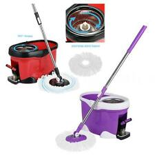 360°Rolling Spin Mop & Bucket Set Foot Pedal Rotating W/ 2 Mop Heads K6R4